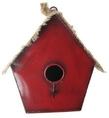 """Goedkope vogelhuisjes """"Roodkapje"""" (voorzien van een zinken dakje met jute afgewerkt"""