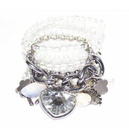 Brede armband met witte parels zilveren kralen en zilver goud koper ketting