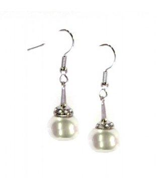 Zilveren Oorbellen met Witte Parel en Strass