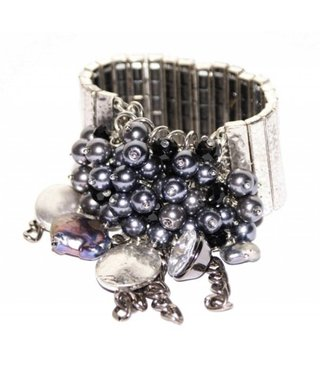 Wide silver metal bracelet with gray and silver charm beads