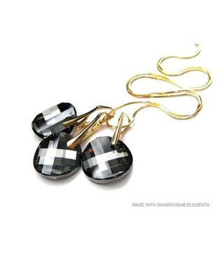 "Set Zilveren Gouden Oorringen en Ketting met Swarovski Elements Twist ""Silver Night"""