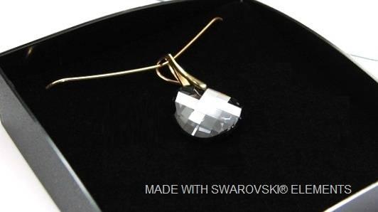 "Zilveren Gouden Ketting met Swarovski Elements Twist ""Silver Night"""