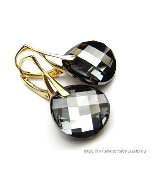 """Zilveren Gouden Oorringen met Swarovski Elements Twist """"Silver Night"""""""