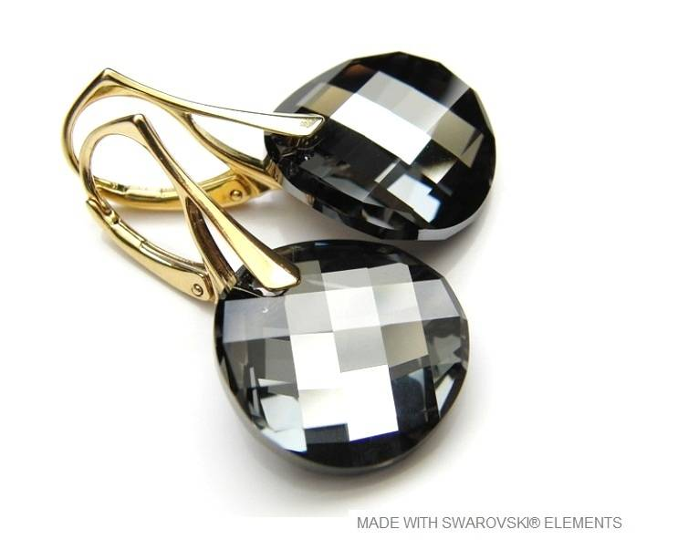 "Zilveren Gouden Oorringen met Swarovski Elements Twist ""Silver Night"""