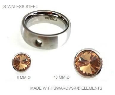 Ring roestvrij staal met verwisselbare Swarovski stenen