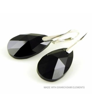 "Bijou Gio Design™ Silver Earrings with Swarovski Elements Pear-Shaped ""Jet"""