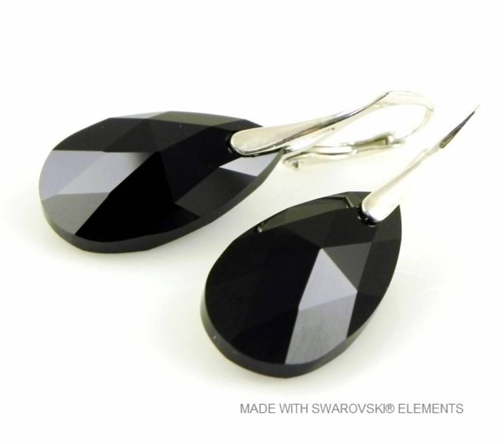 """Zilveren Oorringen met Swarovski Elements Pear-Shaped """"Jet"""""""