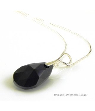 "Bijou Gio Design™ Silver Necklace with Swarovski Elements Pear-Shaped ""Jet"""