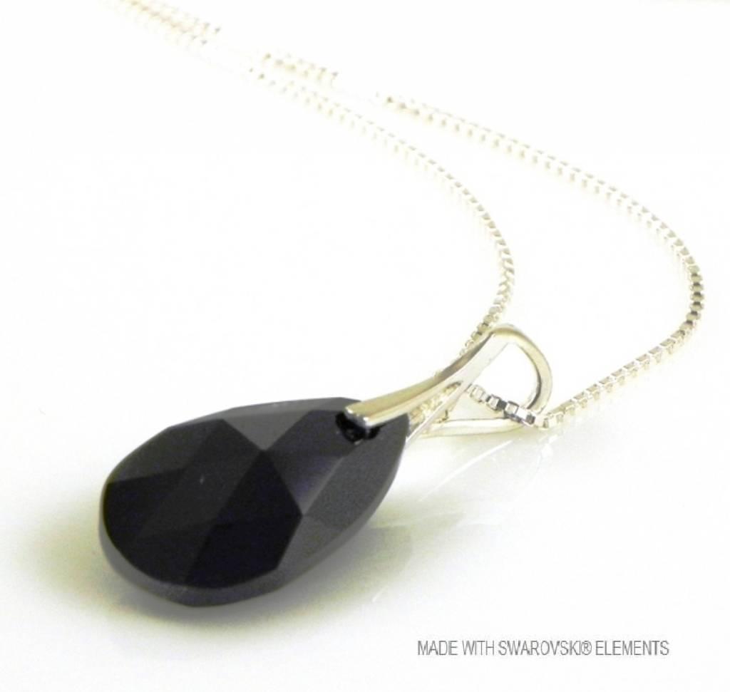 "Zilveren Ketting met Swarovski Elements Pear-Shaped ""Jet"""