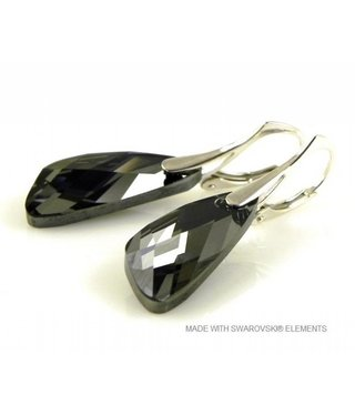 "Bijou Gio Design™ Zilveren Oorringen met Swarovski Elements Wing ""Silver Night"""