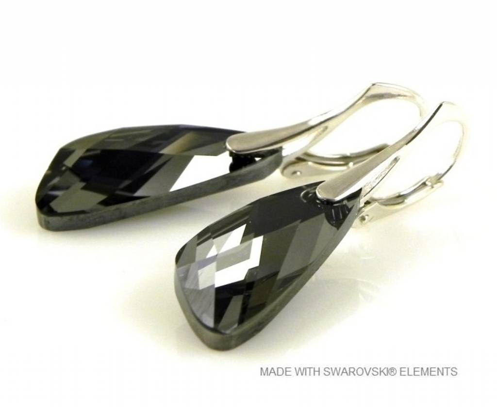 "Zilveren Oorringen met Swarovski Elements Wing ""Silver Night"""