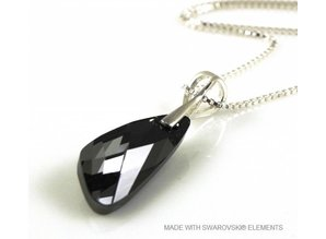"Silver Necklace with Swarovski Elements Wing ""Silver Night"""
