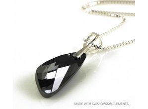 "Zilveren Ketting met Swarovski Elements Wing ""Silver Night"""