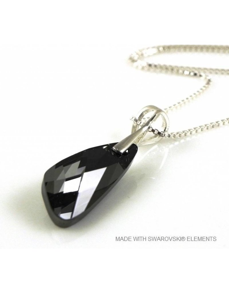 "Bijou Gio Design™ Zilveren Ketting met Swarovski Elements Wing ""Silver Night"""