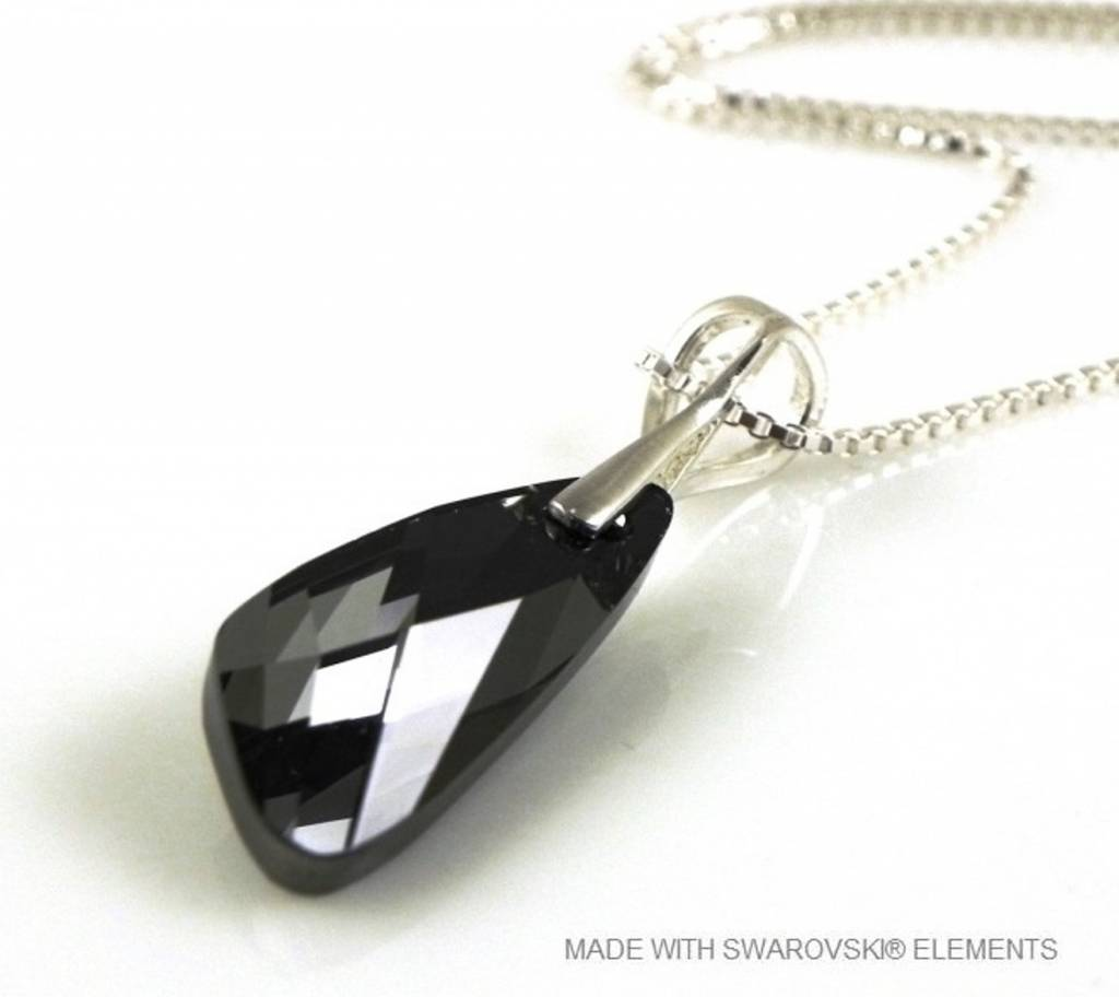 "Zilveren Ketting met Swarovski Elements Wing ""Silver Night"""