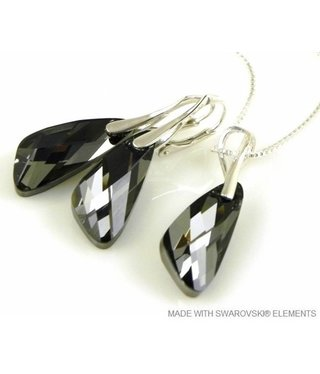 "Bijou Gio Design™ Set Silver Earrings and Necklace with Swarovski Elements Wing ""Silver Night"""