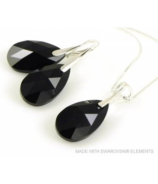 "Bijou Gio Design™ Set Silver Earrings and Necklace with Swarovski Elements Pear-Shaped ""Jet"""