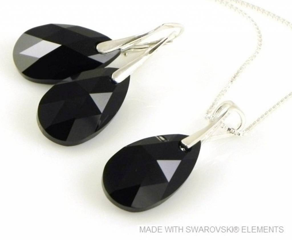 "Bijou Gio Design™ Set Argent Boucles d'oreilles et Collier avec Swarovski Elements Pear-Shaped ""Jet"""
