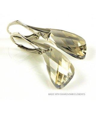 """Bijou Gio Design™ Zilveren Oorringen met Swarovski Elements Wing """"Silver Shade"""""""