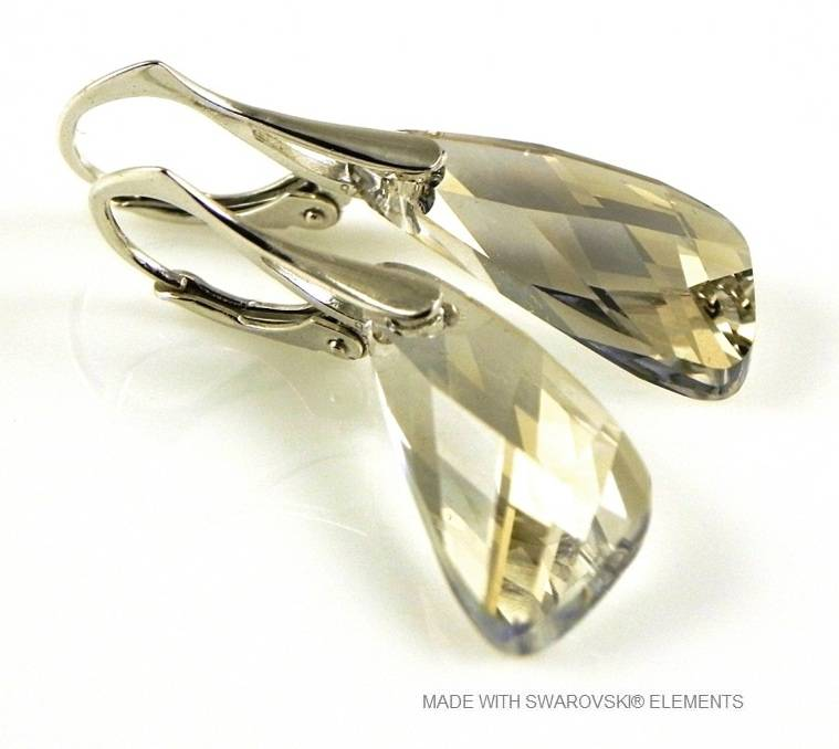 "Zilveren Oorringen met Swarovski Elements Wing ""Silver Shade"""