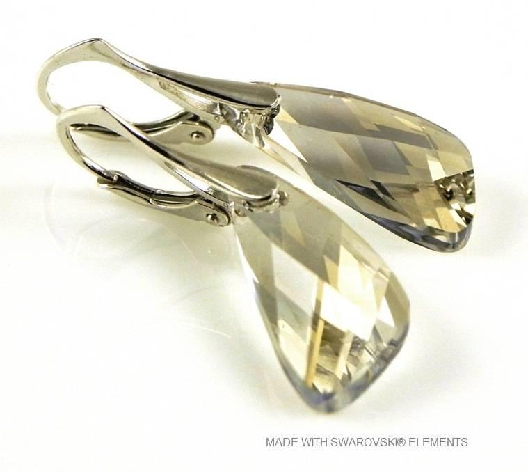 """Zilveren Oorringen met Swarovski Elements Wing """"Silver Shade"""""""