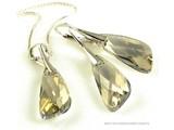 """Bijou Gio Design™ Set Silber Ohrringe und Halskette mit Swarovski Elements Wing """"Silver Shade"""""""