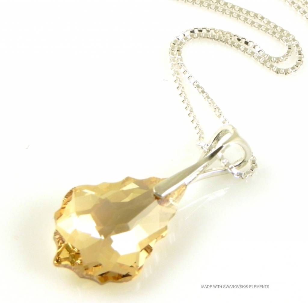 "Zilveren Ketting met Swarovski Elements Baroque ""Golden Shadow"""