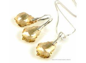 """Bijou Gio Design™ Set Silber Ohrringe und Halskette mit Swarovski Elements Baroque """"Golden Shadow"""""""