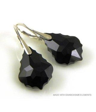"""Bijou Gio Design™ Zilveren Oorringen met Swarovski Elements Baroque """"Jet"""""""