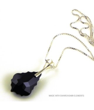 "Bijou Gio Design™ Zilveren Ketting met Swarovski Elements Baroque ""Jet"""