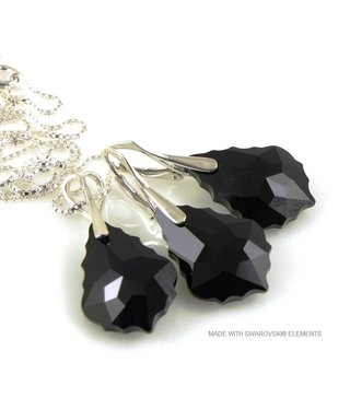 "Bijou Gio Design™ Set Silver Earrings and Necklace with Swarovski Elements Baroque ""Jet"""