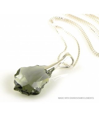 "Bijou Gio Design™ Zilveren Ketting met Swarovski Elements Baroque ""Black Diamond"""