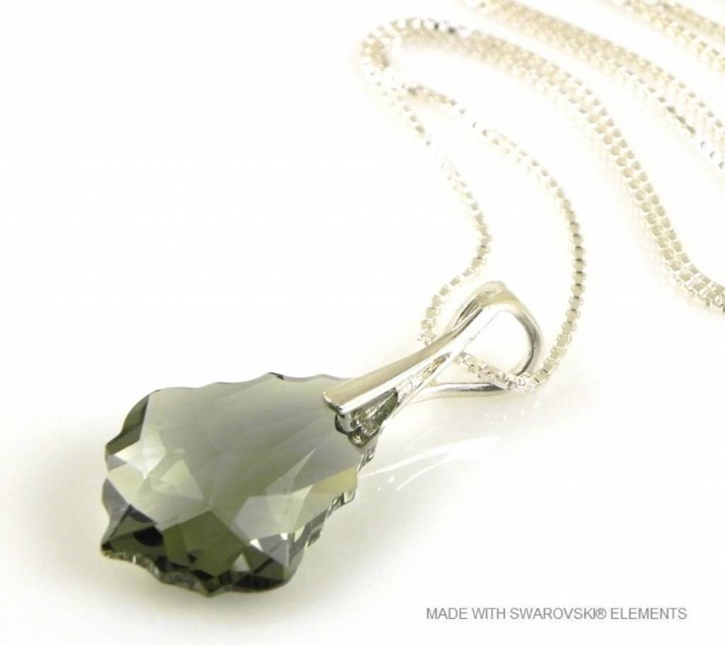 "Zilveren Ketting met Swarovski Elements Baroque ""Black Diamond"""