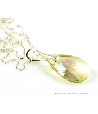 "Bijou Gio Design™ Silver Necklace with Swarovski Elements Pear-Shaped ""Luminous Green"""