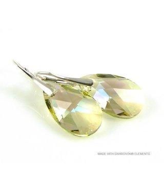 "Bijou Gio Design™ Silver Earrings with Swarovski Elements Pear-Shaped ""Luminous Green"""