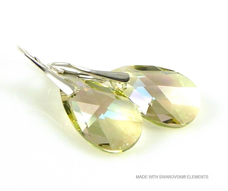 """Zilveren Oorringen met Swarovski Elements Pear-Shaped """"Luminous Green"""""""