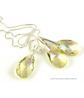"Bijou Gio Design™ Set Silver Earrings and Necklace with Swarovski Elements Pear-Shaped ""Luminous Green"""