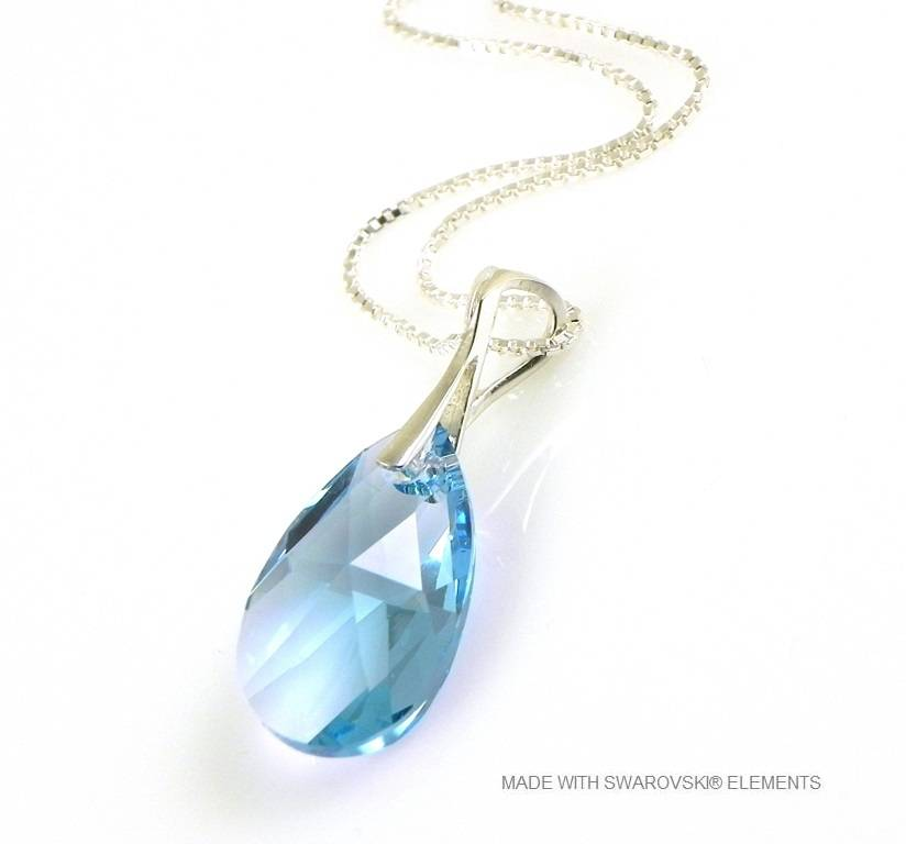 "Zilveren Ketting met Swarovski Elements Pear-Shaped ""Aquamarine"""