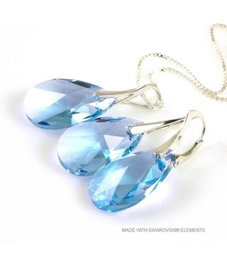 "Bijou Gio Design™ Set Silver Earrings and Necklace with Swarovski Elements Pear-Shaped ""Aquamarine"""