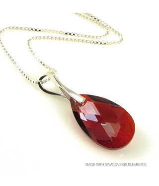 "Bijou Gio Design™ Silver Necklace with Swarovski Elements Pear-Shaped ""Red Magma"""