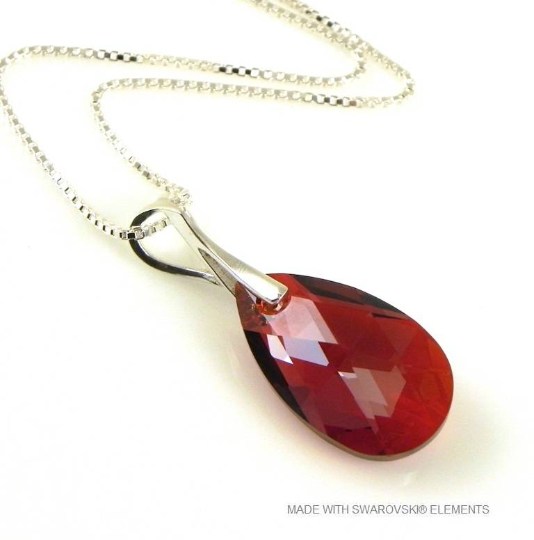 "Zilveren Ketting met Swarovski Elements Pear-Shaped ""Red Magma"""