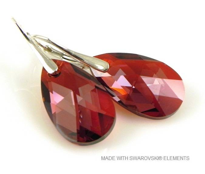 "Zilveren Oorringen met Swarovski Elements Pear-Shaped ""Red Magma"""