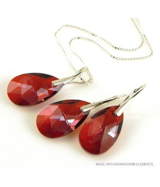 """Bijou Gio Design™ Set Silver Earrings and Necklace with Swarovski Elements Pear-Shaped """"Red Magma"""""""