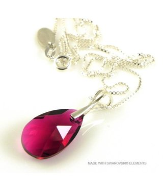 "Bijou Gio Design™ Zilveren Ketting met Swarovski Elements Pear-Shaped ""Ruby"""