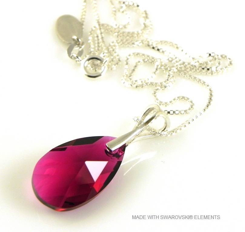 "Zilveren Ketting met Swarovski Elements Pear-Shaped ""Ruby"""
