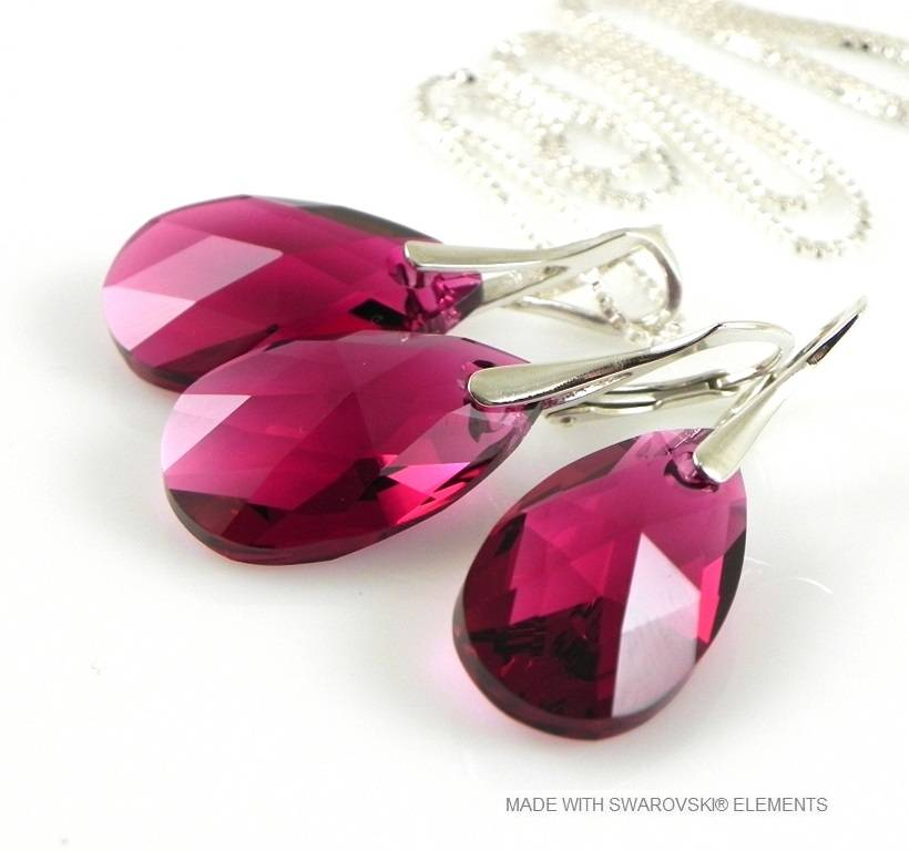 "Bijou Gio Design™ Set Argent Boucles d'oreilles et Collier avec Swarovski Elements Pear-Shaped ""Ruby"""