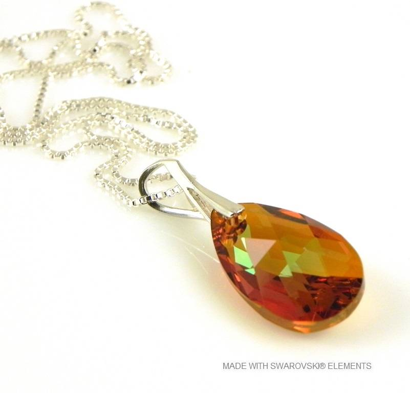 "Zilveren Ketting met Swarovski Elements Pear-Shaped ""Cooper Crystallized"""
