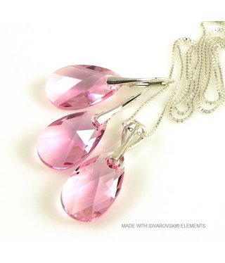 "Bijou Gio Design™ Set Silver Earrings and Necklace with Swarovski Elements Pear-Shaped ""Light Rose"""