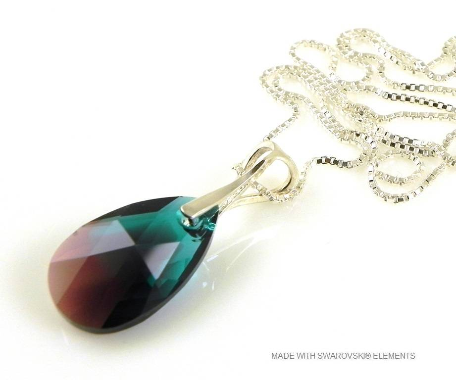 "Zilveren Ketting met Swarovski Elements Pear-Shaped ""Zircon Burgund Blue"""