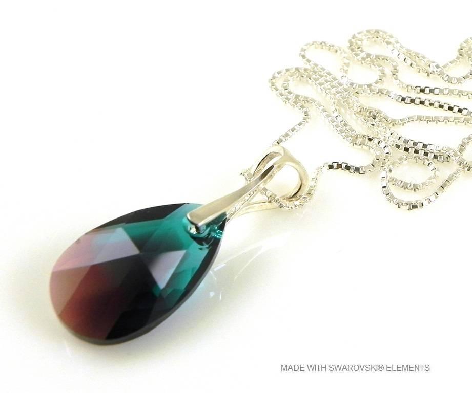 """Zilveren Ketting met Swarovski Elements Pear-Shaped """"Zircon Burgund Blue"""""""